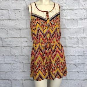 Pants - *1 DAY $ DROP*Gorg  Aztec Print/Lace Knit Romper